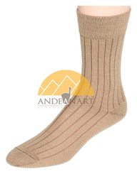 Wide Ribbed Alpaca Dress Socks by AndeanSun - Camel - 16711713