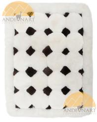 Alpaca Fur Rug - Black and White Geometric - US STOCK