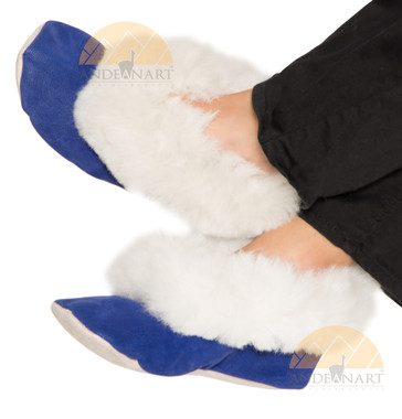 Alpaca Fur Collar Slipper - Faux Suede - Shoe Style - Electric Blue - 72911702