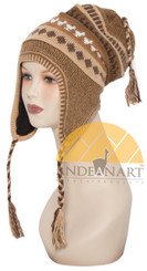 Fleece Lining Ear Flap Alpaca Chullo - Natural Color - 16752221