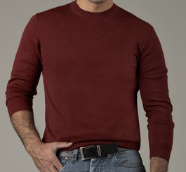 100% Baby Alpaca Men's Crew Neck Sweater - AndeanSun - Burgundy
