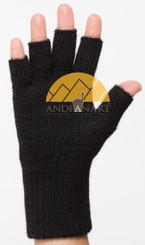 FINGERLESS Classic Alpaca Gloves Made with 100% Alpaca Yarn by AndeanSun - Black - 16783225