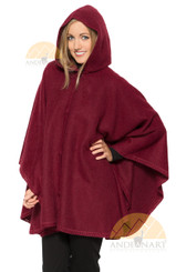 Short Hooded Alpaca Cape - Alpaca Carrasco - Burgundy - 16853525