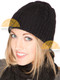 Cable Knit Fold Over Beanie Alpaca Hat - Black - 16752222