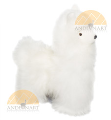 Alpaca Fur Stuffed Figurine Standing - White - 15161656