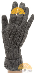 Cable Knit Fold Over Cuff Alpaca Gloves - Grey - 16783227