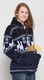 Alpaca Motif Heavyweight Full-Zip Hoodie Jacket - FAUX Alpaca - Navy Blue - 16264001