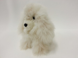 "Alpaca Fur Dog Medium 9 1/2"" inches (fur to fur) - 7 1/2"" (hide to hide) Alpaca Fur Stuffed Animal - Mixed Color - 15961610"