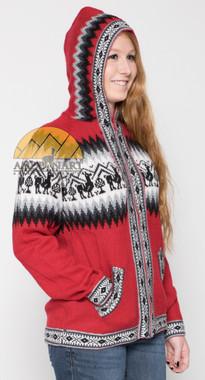 Alpaca Motif Hoodie Zip-Up Cardigan - Alpaca Sweater - Dark Red - 16261711