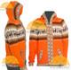 Alpaca Motif Hoodie Zip-Up Cardigan - Alpaca Sweater - Orange - 16261711