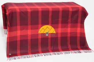 Large Plaid Pattern Alpaca Throw - Alpaca AND ACRYLIC Blend Blanket by Alpaca Carrasco - Burgundy - Flame - Dark Red - 16893610