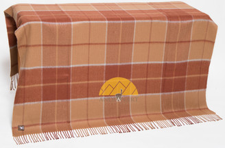 Large Check Pattern Alpaca Throw - Alpaca AND ACRYLIC Blend Blanket by Alpaca Carrasco - Camel - Rust Brown - Light Grey Stripes - 16893611