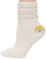 Alpaca Scrunch Low Crew Terry-lined Socks Premium Quality - AndeanSun - US STOCK - Ivory - 16711728
