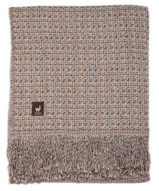 Cross Weave Alpaca Throw - Alpaca AND ACRYLIC Blend Blanket by Alpaca Carrasco - Beige Ivory Brown Combo - 16893614
