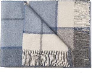 100% Baby Alpaca Plaid Throw - Blanket - AndeanSun - Blue and Ivory - 16893549
