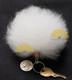 Alpaca Fur Ball Pom Pom Keychain - White - 15161662