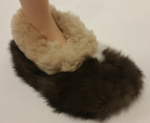 Baby Alpaca Fur Collar Slipper Hand Sewn - Shoe Style - Mixed Color - 72911705
