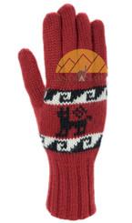 Double Knit Alpaca Gloves with Alpaca Motif made with 50% Alpaca Yarn - Alpaca Gloves - 16783229DR - Dark Red