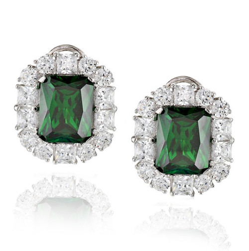 Emerald Cut Emerald CZ Leverback Earring with Clear CZ Outline in Rhodium Plated Brass
