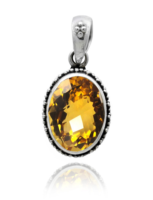 Oval Citrine Sterling Silver Pendant with Beadwork Design