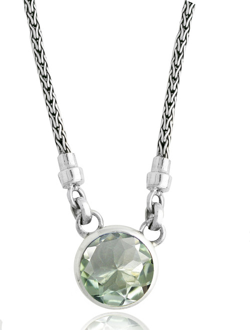 Green Amethyst Solitaire Sterling Silver Necklace