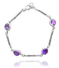 Oval Amethyst Stations Sterling Silver Bracelet with Woven Chain