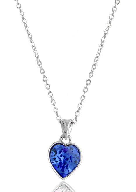 Heart shape aqua swarovski crystal pendant necklace aloadofball Image collections