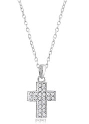 Swarovski Crystal Cross Necklace in Brass