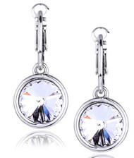 Round Swarovski Crystal Earrings in Brass