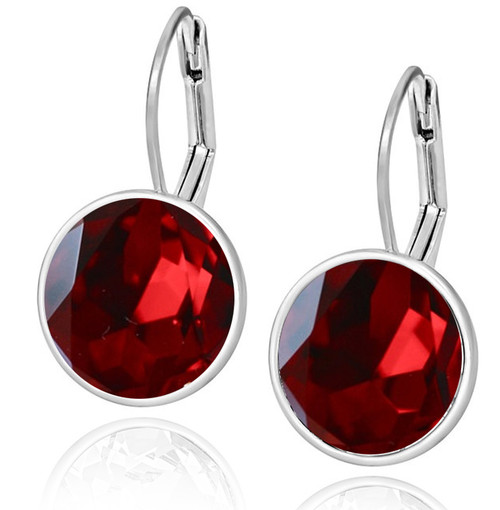 siam earrings red chandelier crystal