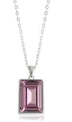 Light Amethyst Swarovski Crystal Necklace in Brass