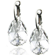 Clear Briolette Swarovski Crystal Earring in Brass