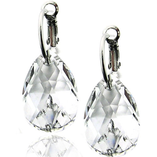Clear Briolette Swarovski Crystal Earring in Brass