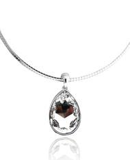 Pear Shape Clear Swarovski Crystal Choker Necklace in Brass