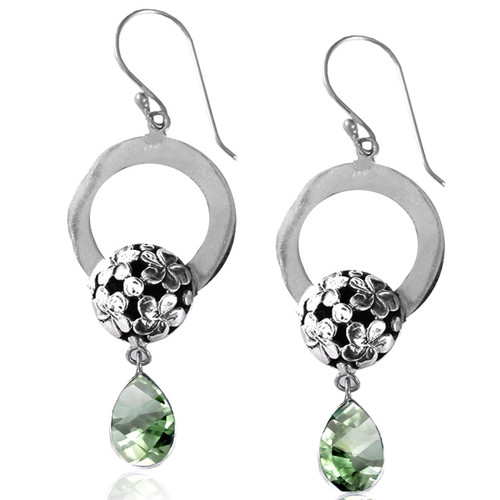 Flower Cutout Green Amethyst Earring