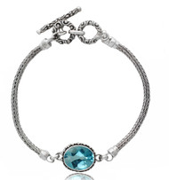 Oval Blue Topaz with Beadwork Sterling Silver Bracelet