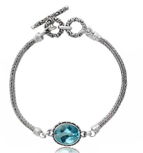 Oval Blue Topaz with Beadwork Sterling Silver Bracelet