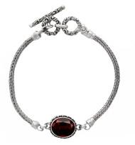 Oval Garnet with Beadwork Sterling Silver Bracelet