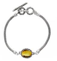 Oval Citrine with Beadwork Bracelet