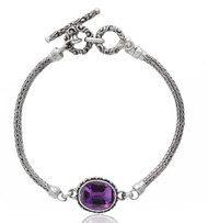Oval Amethyst with Beadwork Sterling Silver Bracelet