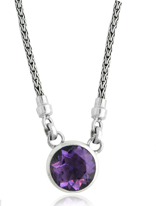 Amethyst Solitaire Sterling Silver Necklace