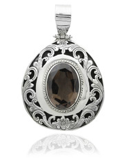Oval Smokey Topaz Sterling Silver Filigree Pendant