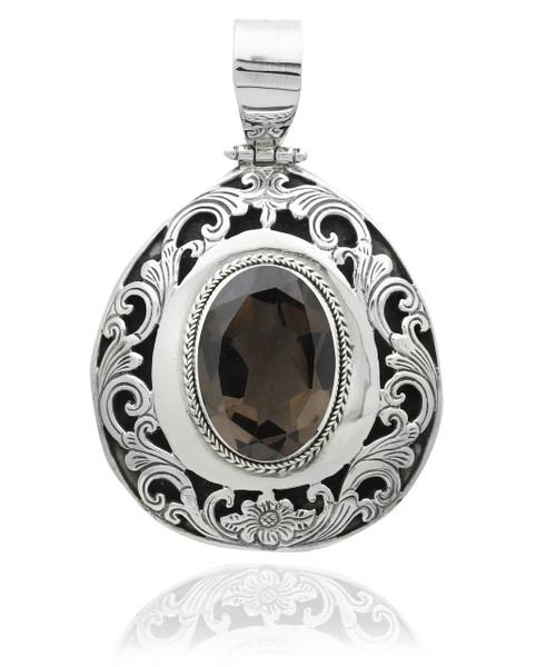Oval smokey topaz sterling silver filigree pendant artune jewelry oval smokey topaz sterling silver filigree pendant aloadofball Image collections