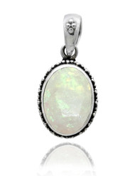 Oval Moonstone Pendant with Beadwork