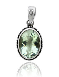 Oval Green Amethyst Sterling Silver Pendant with Beadwork