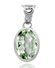Oval Green Amethyst Sterling Silver Pendant