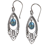 Filigree Earrings with Oval Blue Topaz stone