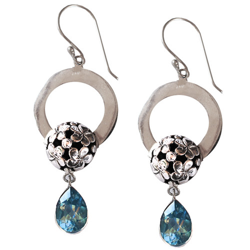 Open Round Earrings with a Blue Topaz Drop Stone