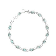Oval Blue Topaz Tennis Bracelet