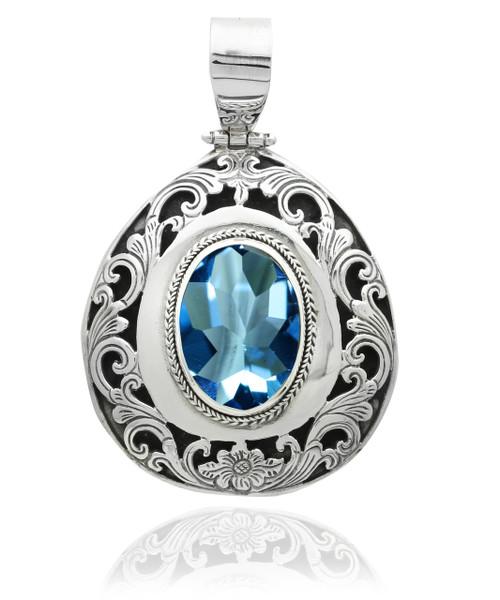 Oval Blue Topaz Filigree Sterling Silver Pendant
